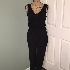 NWOT Loft black knit and crepe pantsuit